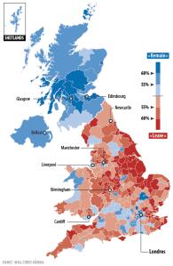 Carte des résultats du référendum de juin 2016