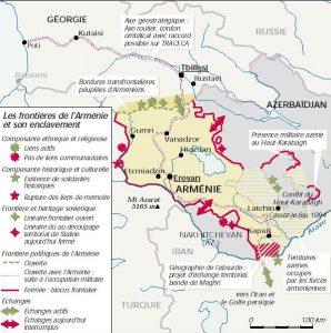 Les frontières de l'Arménie et son enclavement dans le Sud-Caucase